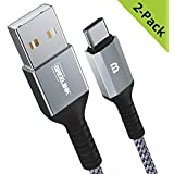 BrexLink USB Certified Type C Cable, USB C to USB A Charger (6.6ft, 2 Pack), Nylon Braided Fast Charging Cord for Samsung Galaxy S9 S8 Note 8, Pixel, LG V30 G6 G5, Nintendo Switch, OnePlus 5 3T (Grey)