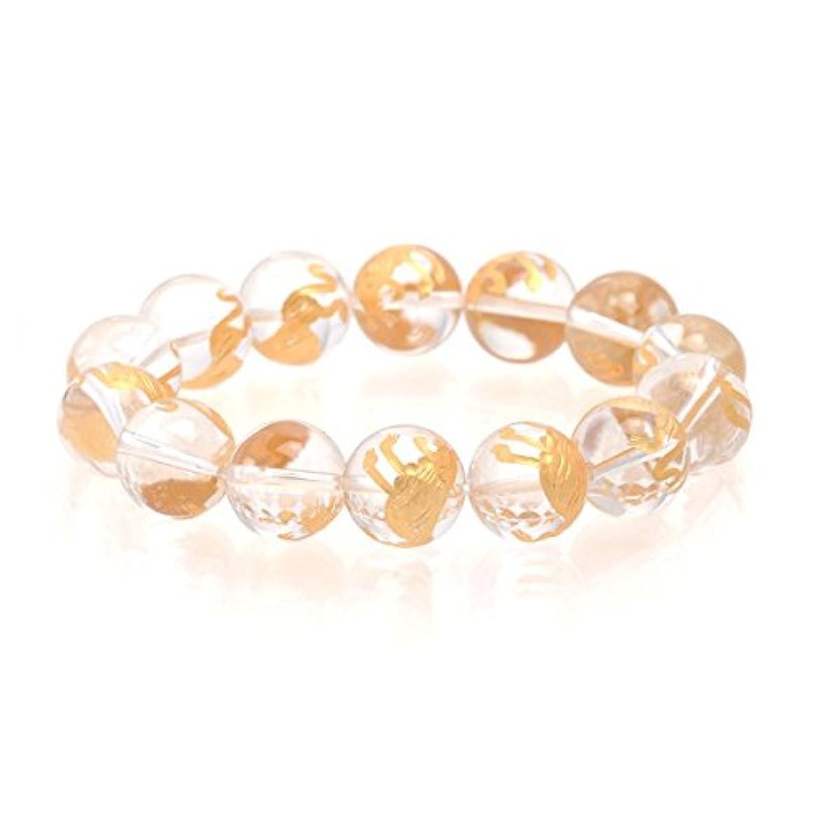 モジュールファイアルディスク水晶 ブレスレット 強い保護力と浄化力を持つとされる、クォーツ ファッション雑貨 大珠14mm手彫り白虎クリスタル(水晶)ブレスレット(金彫り)