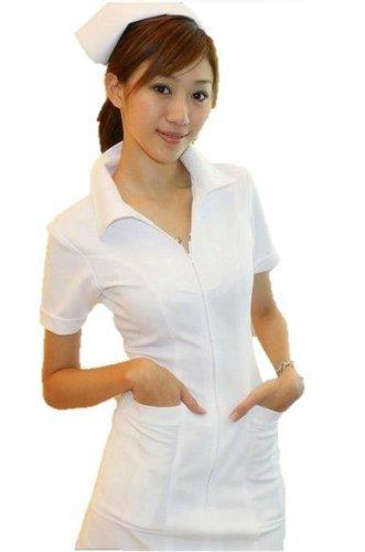 ナース コスプレ 定番ナース服 ストッキング セット 白衣の天使 看護婦 ホワイト