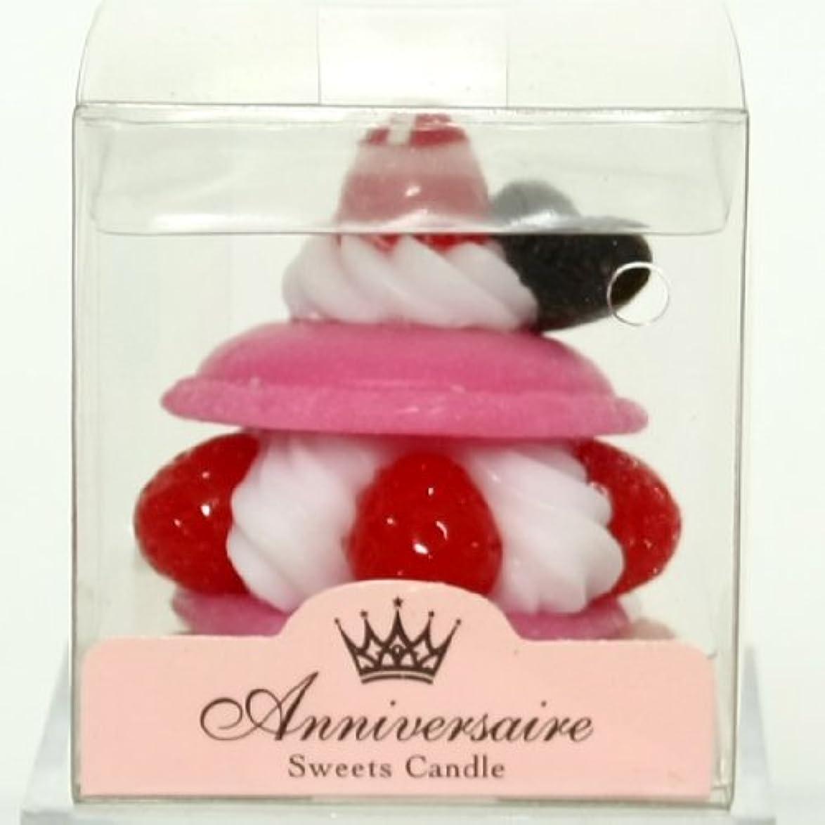拳完全に乾く持続するスイーツキャンドル(sweets candle) マカロンケーキキャンドル【ピンク】