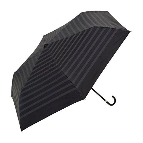 UVカット率約99% PU加工ボーダー日傘折りたたみ傘ブラック