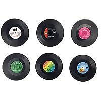 レトロビニールレコードDisc音楽Tabletopドリンクコースターカップマットバーティーコーヒービールマグ用12個パック