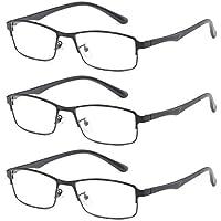Aiweijia Unisex Fashion Retro 3 Pack Reading glasses Metal frame Resin lenses