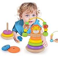 Wooka ライオンスタッカー 木製レインボーリング スタッカー 教育玩具 赤ちゃん 幼児用