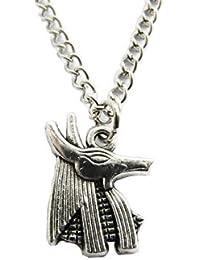 古代シルバーHead of Anubisネックレス。エジプト神ネックレス、エジプトジュエリー