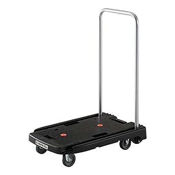 TRUSCO(トラスコ) 小型樹脂台車 こまわり君 ブラック 600x390 省音タイプ MP6039NBK 折りたたみ 軽量 静か 静音