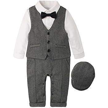 ad8ea892a02eb (ラボーグ)La Vogue 子供服 フォーマル スーツ ベビー ロンパース 長袖 ベスト 帽子 3点