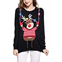 *daisysboutique* Women's Christmas Reindeer Themed Knitted Holiday Sweater Girl Pullover