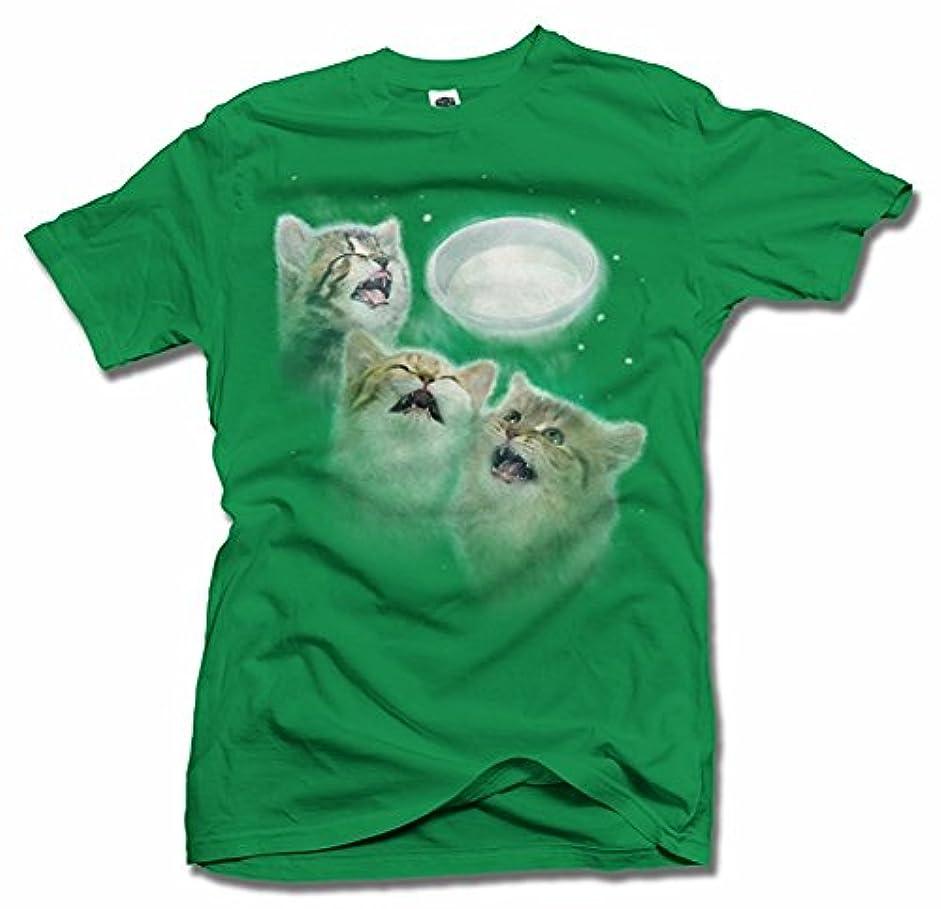勇敢なのために主観的Three Cats Howling At The MilkホワイトメンズT (6.1 Oz)