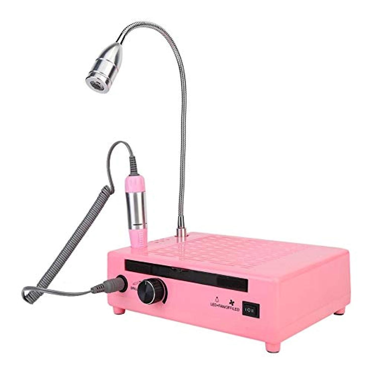 誓い懐疑的インタラクションネイルダストコレクター、3 in 1多機能60W 30000RMPネイルダストコレクター掃除機デスクライトネイルマニキュアツールキット付き(ピンク)