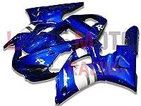 LoveMoto ブルー/イエローフェアリング ヤマハ yamaha YZF-1000 R1 2000 2001 00 01 YZF 1000 ABS射出成型プラスチックオートバイフェアリングセットのキット ブルー ホワイト