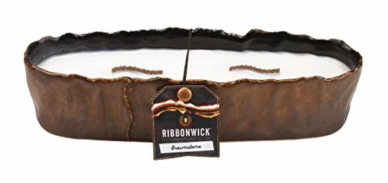 子犬概して電話する大きな長方形ブラウンストーンRibbonWick Scented Candle by WoodWick