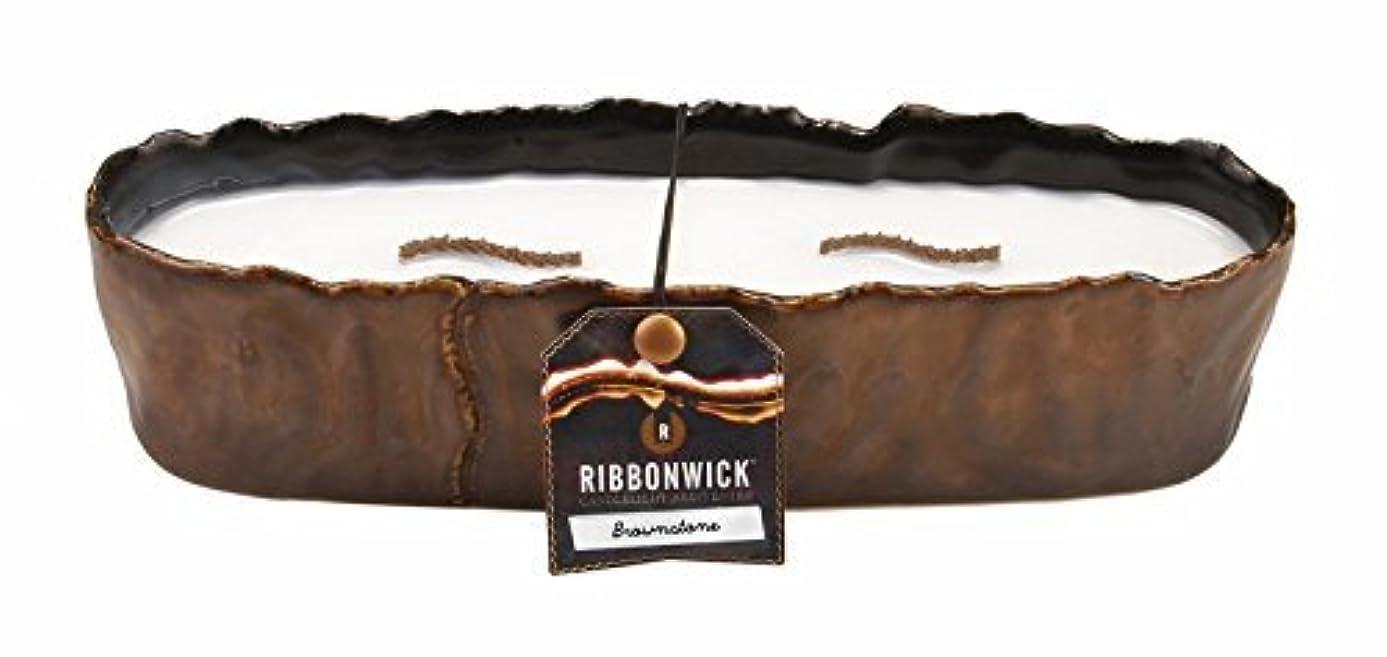 氷満了目の前の大きな長方形ブラウンストーンRibbonWick Scented Candle by WoodWick