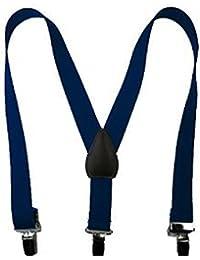 海軍ブルーカジュアルゴムサスペンダー