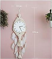 ウォールクロック マクラメ タペストリー, 手作り編み 織 羽 壁掛け ラウンド 時計 クリエイティブ ホーム ベッド リビング ルーム 壁のアート 装飾-ベージュ B 33x105cm