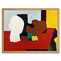 Gorky Still Life Red Yellow Abstract Painting Art Print Framed Poster Wall Decor 12x16 inch それでも生活黄抽象ペインティングポスター壁デコ