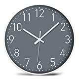 iMotion Wall Clock 12'' Non-Ticking,Silent Battery Operated Modern Simple Style with ABS Frame HD Glass Cover for Kids Living Room Bedroom Kitchen School Office Decor (Gray)