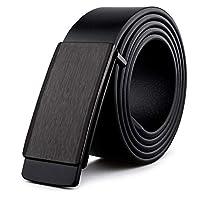 WangYi メンズベルト- メンズベルトスムースバックルベルトレザースムーズレザーパンツベルト (色 : 黒, サイズ さいず : 125cm)
