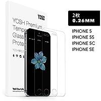 iPhoneSE/iPhone5s/iPhone5c/iPhone5 液晶保護フィルム 強化ガラスフィルム AGC旭硝子 保護シート YOSH 【2枚】 4.0インチ用 超薄0.26mm 硬度9H 高透過性/気泡防止/指紋防止/自然吸着/3D Touch/高感度