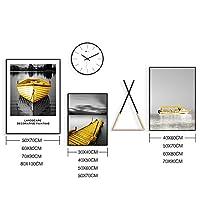 大規模なブラックホワイトイエローボートキャンバスウォールアート写真装飾セット - ソリッドウッドラック - 北欧ミニマウォールクロック - 5個の1セット (Color : Light Wood, Size : M)