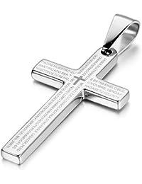 JewelryWe 大切な人や,彼氏?彼女へのプレゼント:ステンレス クロス ネックレス 十字架 メンズ 聖書,カラー:シルバー(銀) [ギフトバッグを提供]