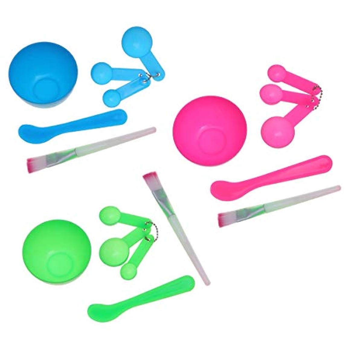 Beaupretty 18ピースフェイスマスクボウルフェイスマスクミキシングツールキットDIYフェイシャルマスクツール(グリーン+ブルー+ピンク)