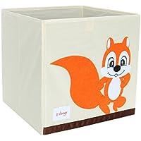 Piccocasa折りたたみ式おもちゃストレージビンSquare Cartoon Animalキャンバスストレージボックス環境に優しいファブリックストレージキューブオーガナイザーの寝室、プレイルーム、オレンジSquirrel No蓋13