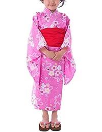 [キョウエツ] 浴衣セット こども 紅梅織り 3点セット(浴衣、兵児帯、下駄) gp ガールズ