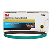 3M 31801 0.5 in. X 18 in. 36G Belt 3M Green Corps Abrasive File Belt, 0.5 In X 18 In, 36, 20 Belts per Box