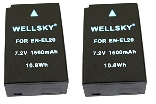 WELLSKY EN-EL20a EN-EL20a 互換バッテリー 1500mAh [ 純正品と同じよう使用可能 純正充電器で充電可能 残量表示可能 ] Nikon ニコン Nikon 1 J3 / Nikon 1 J2 / Nikon 1 J1 / Nikon 1 S1 / Nikon 1 AW1 / Nikon 1 V3 / COOLPIX P1000