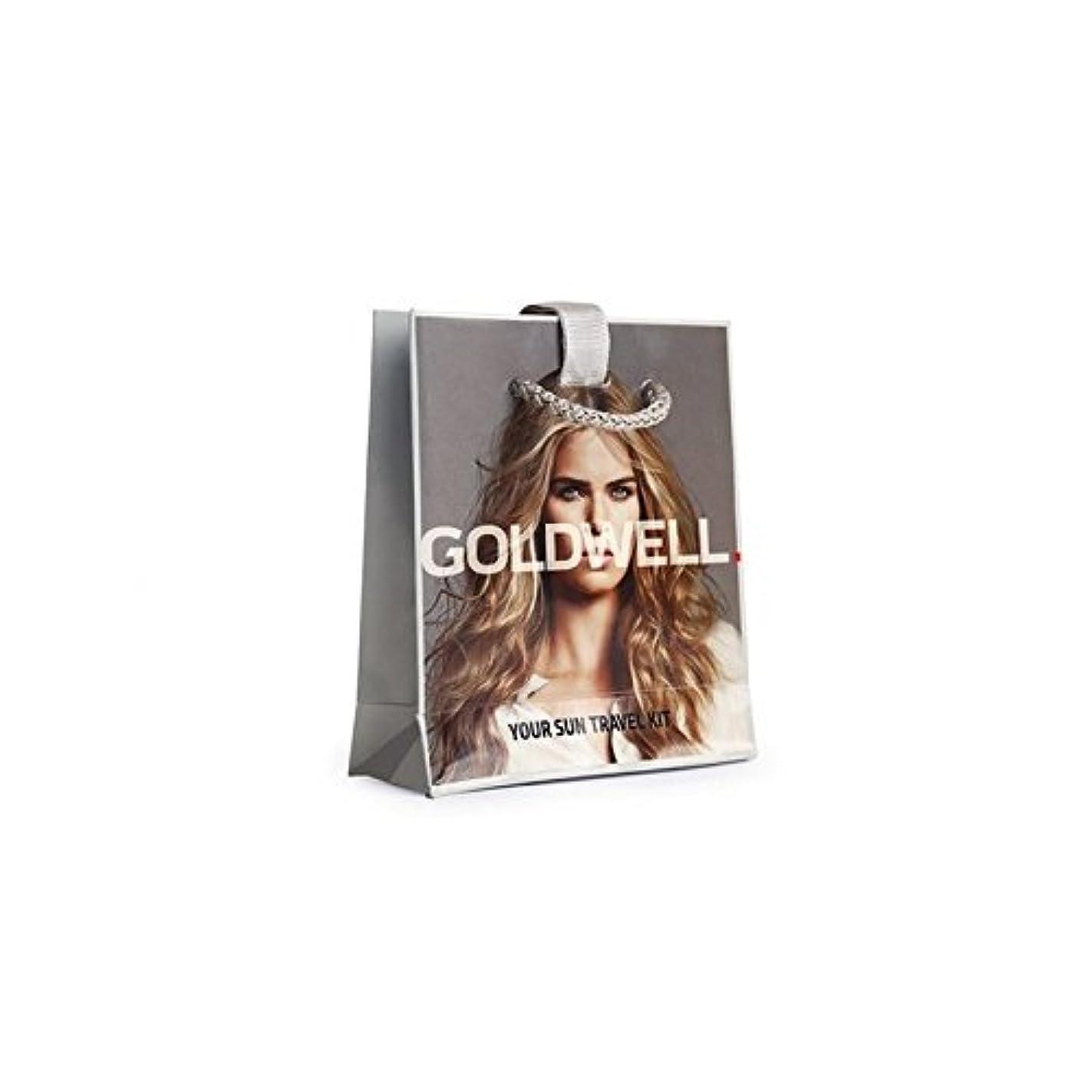 山積みの否認する咽頭日ヘアケアトラベルバッグ x4 - Goldwell Dualsenses Sun Haircare Travel Bag (Pack of 4) [並行輸入品]