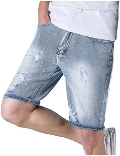 Macondoo Mens Summer Baggy Short Pants Washed Broken Hole Faded Denim Shorts