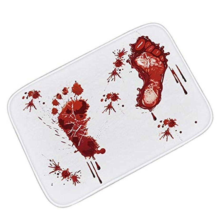 医薬ジャム熟読ハロウィーンの装飾のマット、血の足跡のスリップ防止マットのホラー血まみれのドアのマット (Color : 60*90CM)