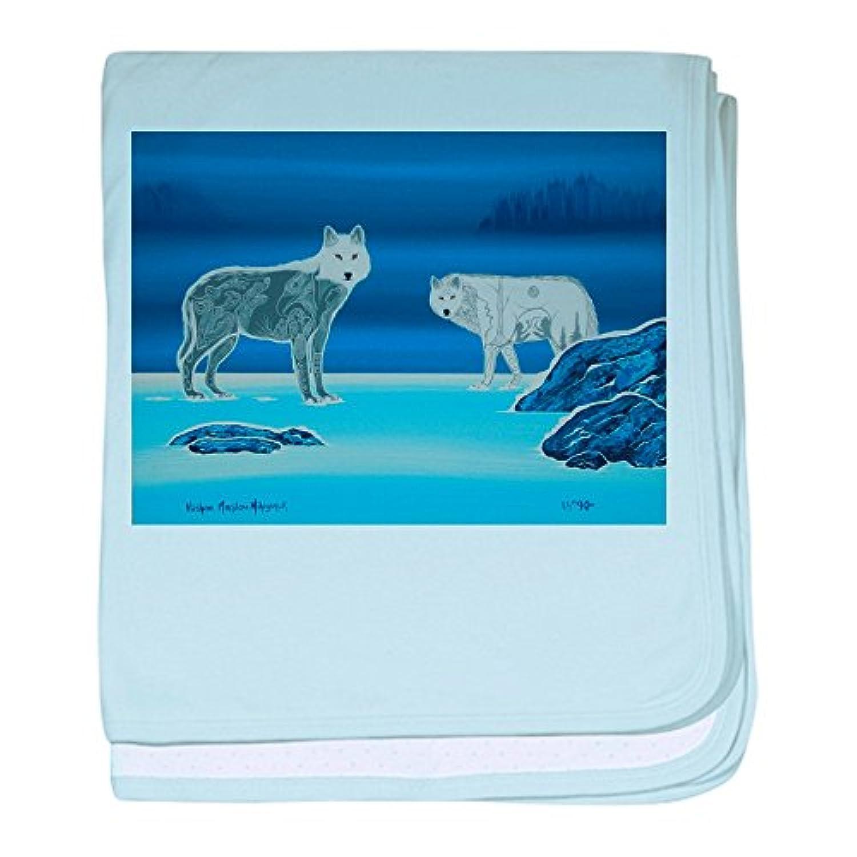 CafePress – 2 Wolves – スーパーソフトベビー毛布、新生児おくるみ ブルー 086322204325CD2