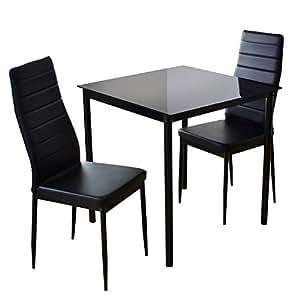 DORIS ダイニングテーブル 2人用 ダイニングテーブルセット 3点 ガラス 幅75 ハイバックチェア 組立式 ブラック レイブン