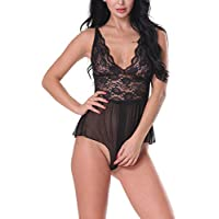 DishyKooker Women Sexy See-Through Lace Underwear Crotchless Bustiers & Teddies Lingerie for Ladies