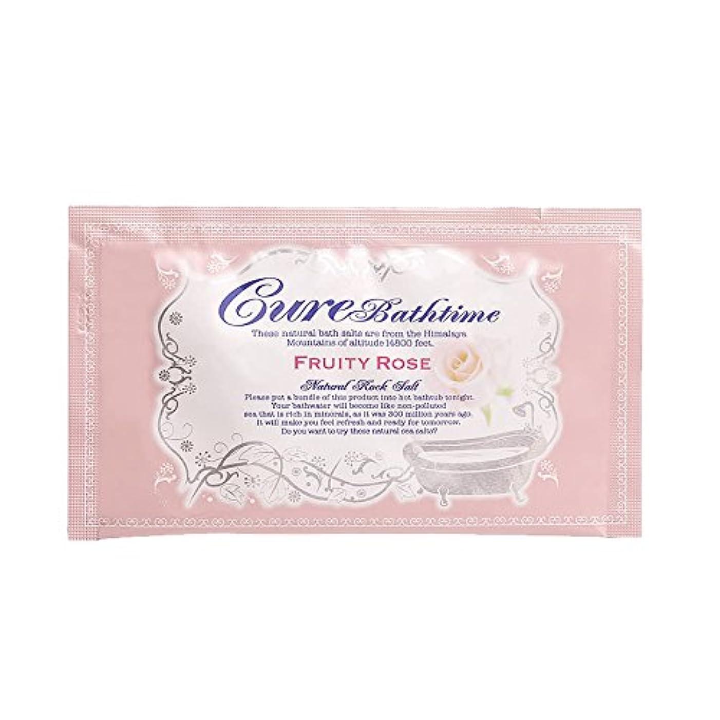 反論者省シャワーCureバスタイム 天然ヒマラヤ岩塩バスソルト フルーティローズの香り 16包セット