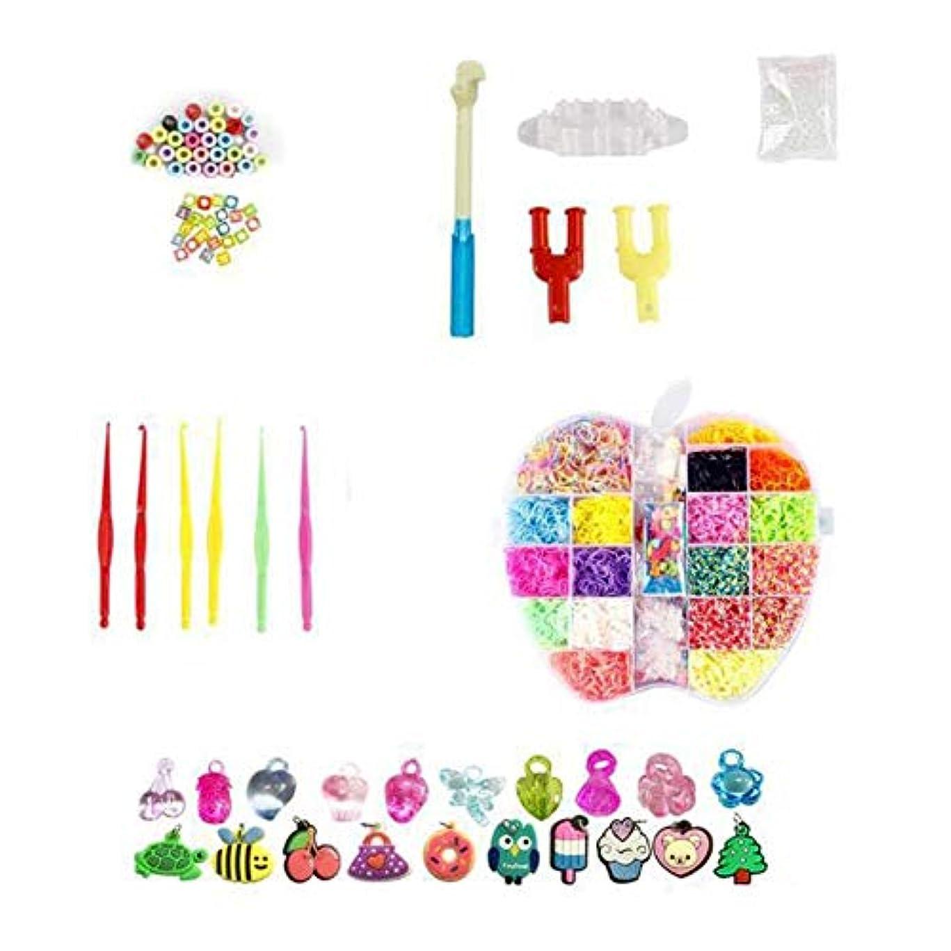誰のテキスト汚染するAnkishi 子供6000PCSのための虹の織機のゴムバンド結め換え品のキットDIYの編むおもちゃ
