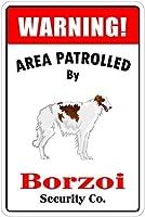 パトロールドボルゾイ メタルティンサインレトロ塗装アートポスター装飾プラーク警告バーカフェガレージパーティーゲーム