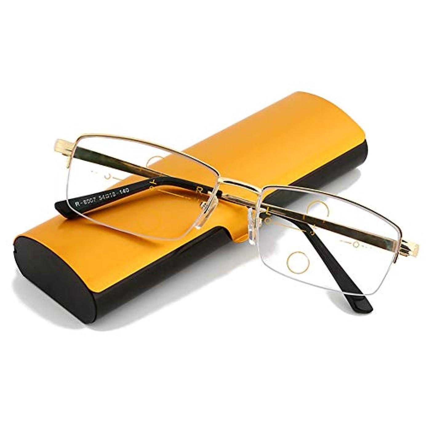 インテリジェント高齢者メガネ、メタルフレームメンズとレディースプログレッシブマルチフォーカス老眼鏡、HD樹脂レンズ老眼鏡