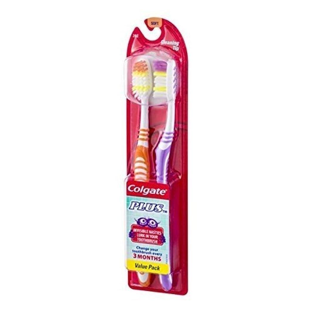 真面目なベジタリアン規則性Colgate プラス歯ブラシクリーニングヒントツインパック、ソフト(12パック)