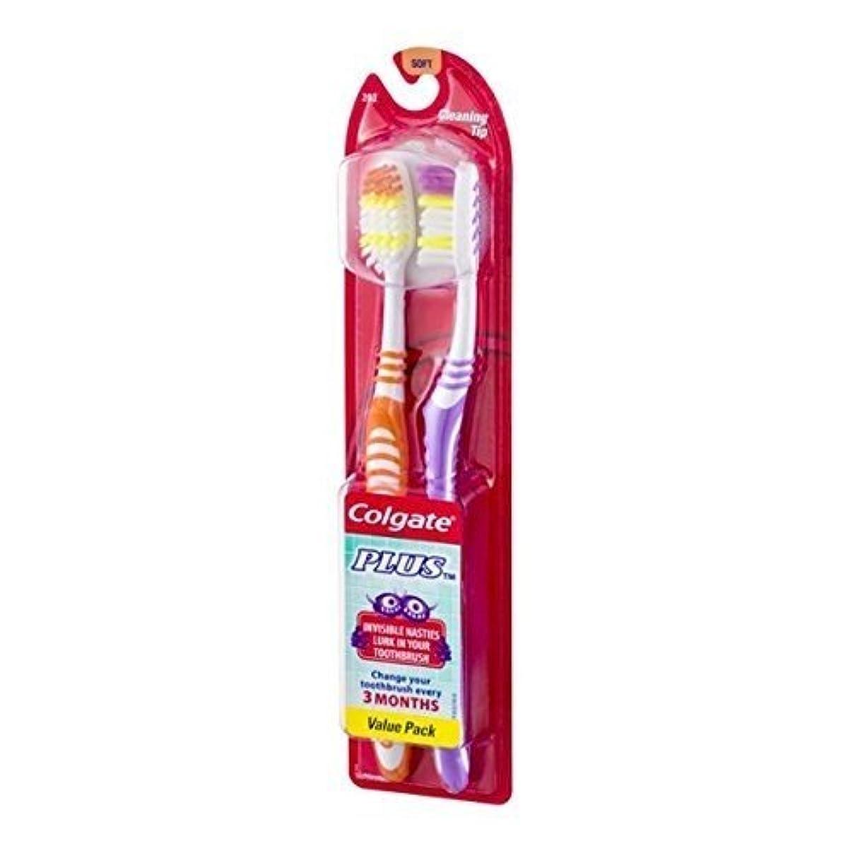 間違いベールネコColgate プラス歯ブラシクリーニングヒントツインパック、ソフト(12パック)