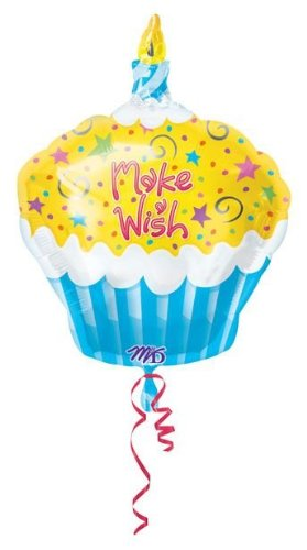 18インチMake a Wish Cupcake Birthday Foil Mylar Balloon by UB FUN