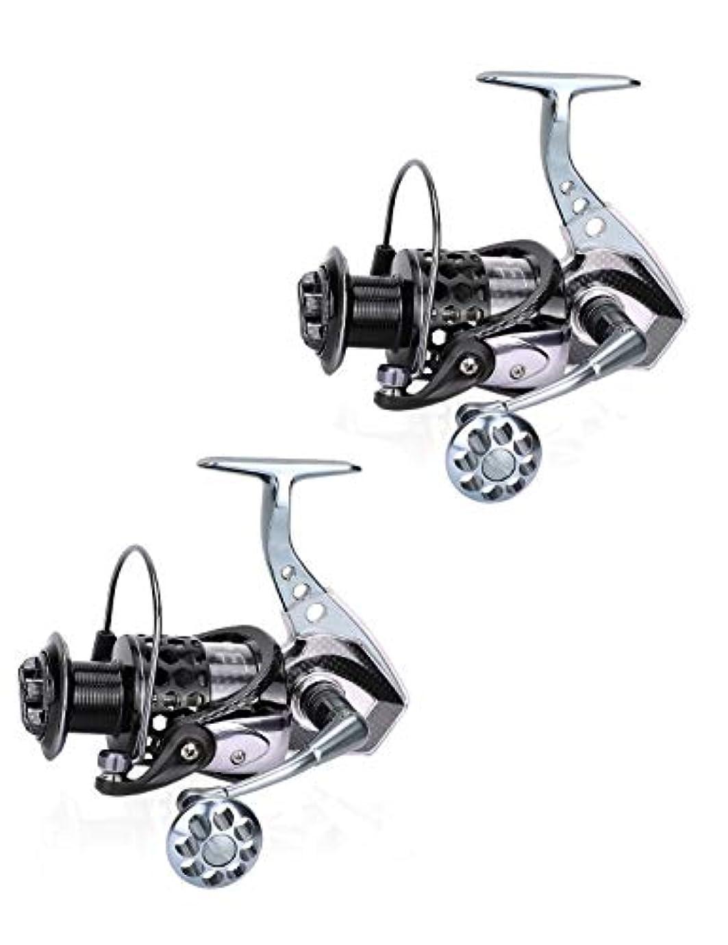 ビジョンレイプ注釈を付ける釣り用リール、18ステンレススチール製ベアリングスムーズ回転リール、防錆デザイン、オールメタルハイパワーボディ、釣り好きな人に最適のギフト (Color : 2 reel)