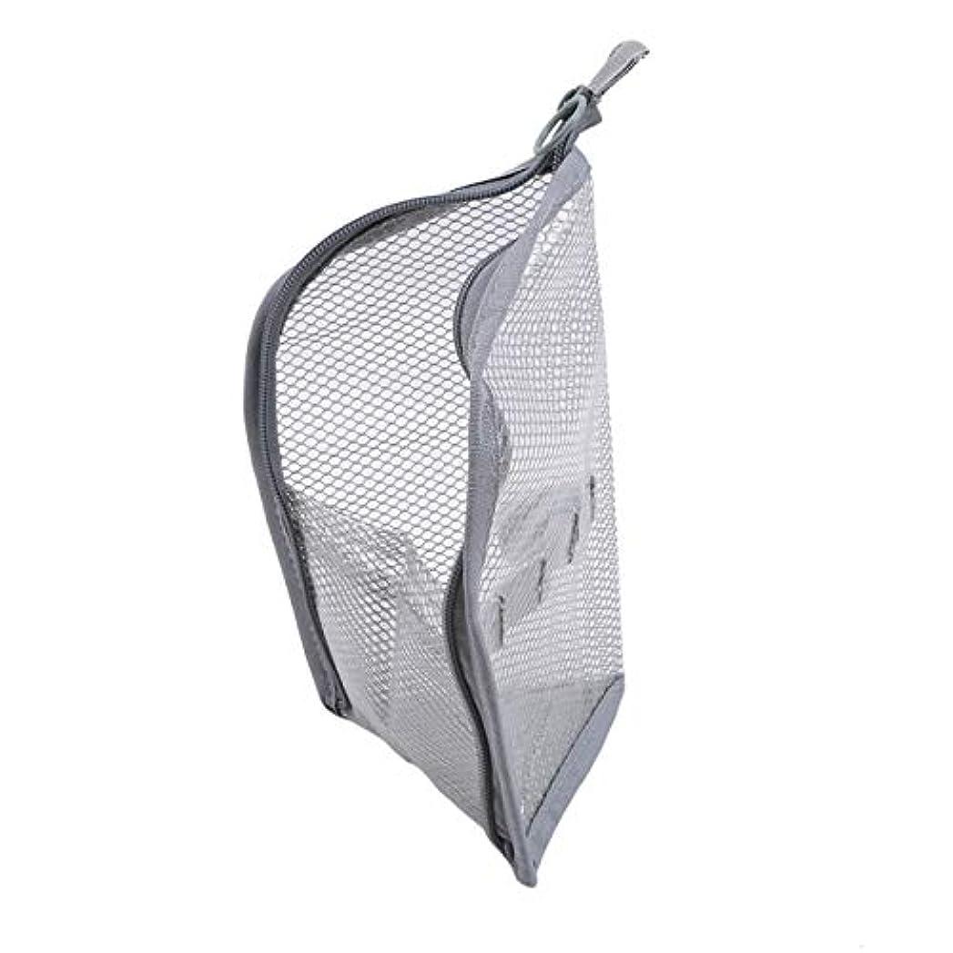何十人も米国要塞ZALING 休暇旅行のためのジッパー付きポーチ付きポーチ付きの小さなポータブル大容量ストレージバッグメッシュバッグ,グレー