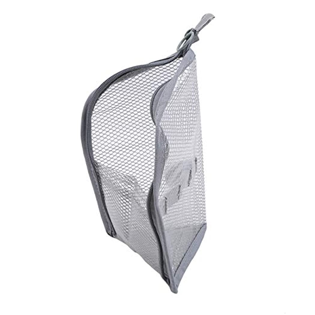 横所持喉が渇いたZALING 休暇旅行のためのジッパー付きポーチ付きポーチ付きの小さなポータブル大容量ストレージバッグメッシュバッグ,グレー