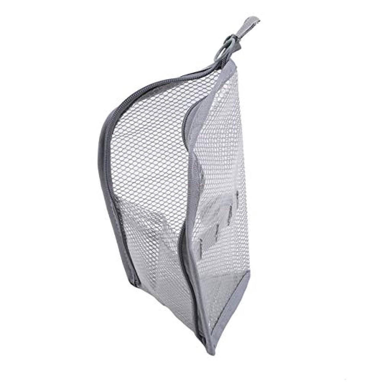 コーチ初期数学的なZALING 休暇旅行のためのジッパー付きポーチ付きポーチ付きの小さなポータブル大容量ストレージバッグメッシュバッグ,グレー