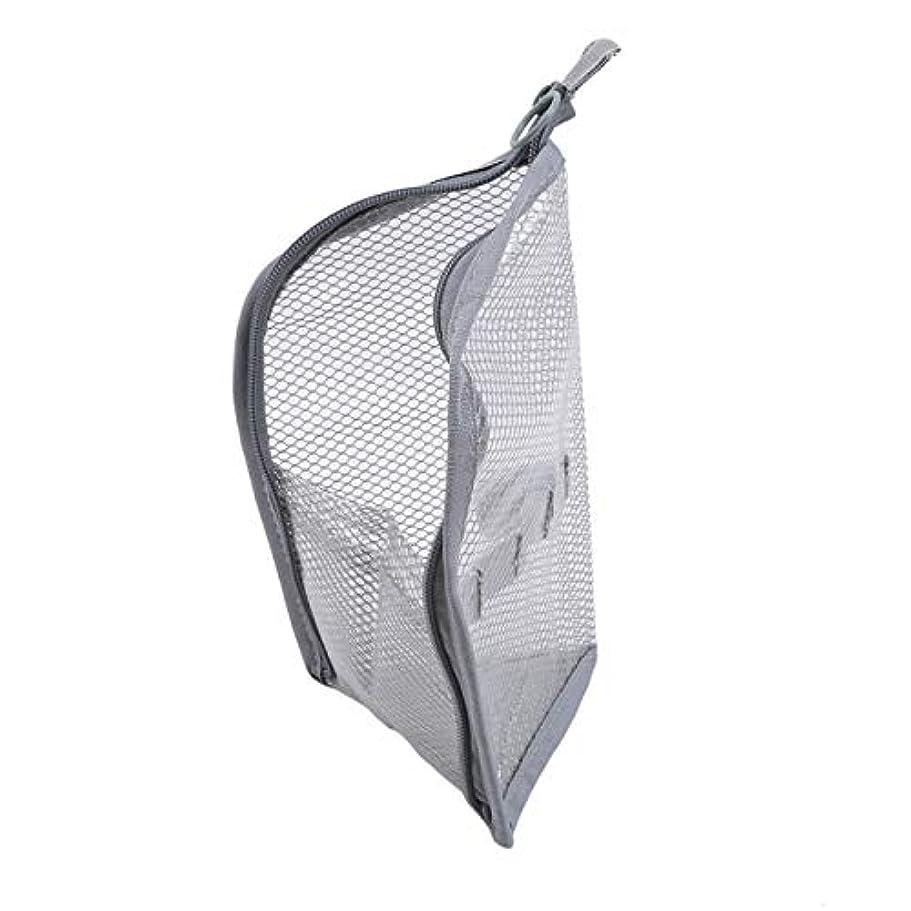 キャンペーン接続その他ZALING 休暇旅行のためのジッパー付きポーチ付きポーチ付きの小さなポータブル大容量ストレージバッグメッシュバッグ,グレー