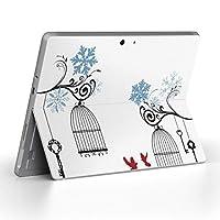Surface go 専用スキンシール サーフェス go ノートブック ノートパソコン カバー ケース フィルム ステッカー アクセサリー 保護 雪 結晶 鳥 009796