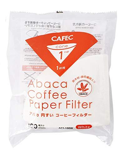 三洋産業 コーヒーフィルター 白 1杯用 アバカ 円錐形 100枚入
